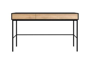 Front image of oak blackbird desk.