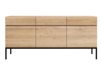 Oak ligna side table three drawer product preview.